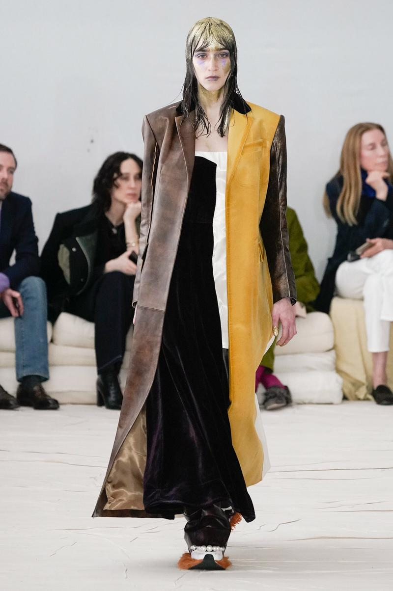 Marni Fall/Winter 2020 Collection Runway Show Coat Yellow Brown