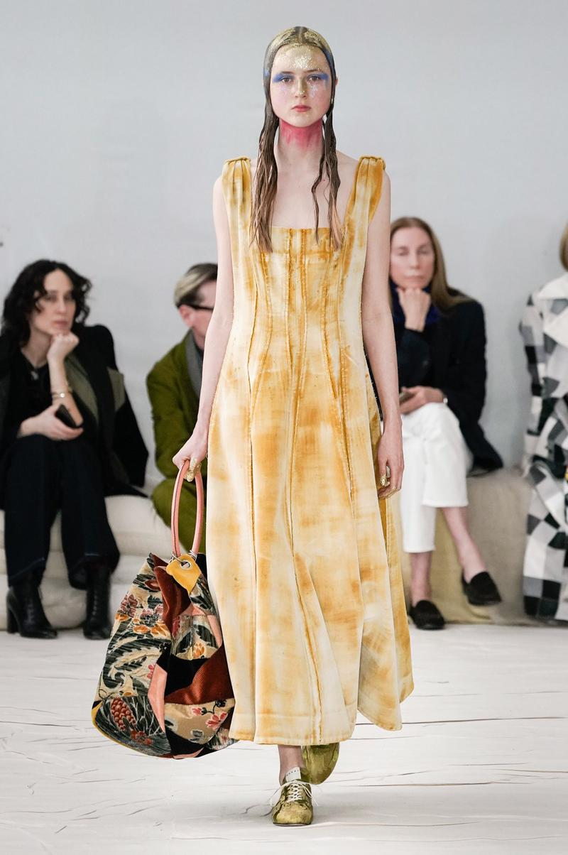 Marni Fall/Winter 2020 Collection Runway Show Dress Yellow