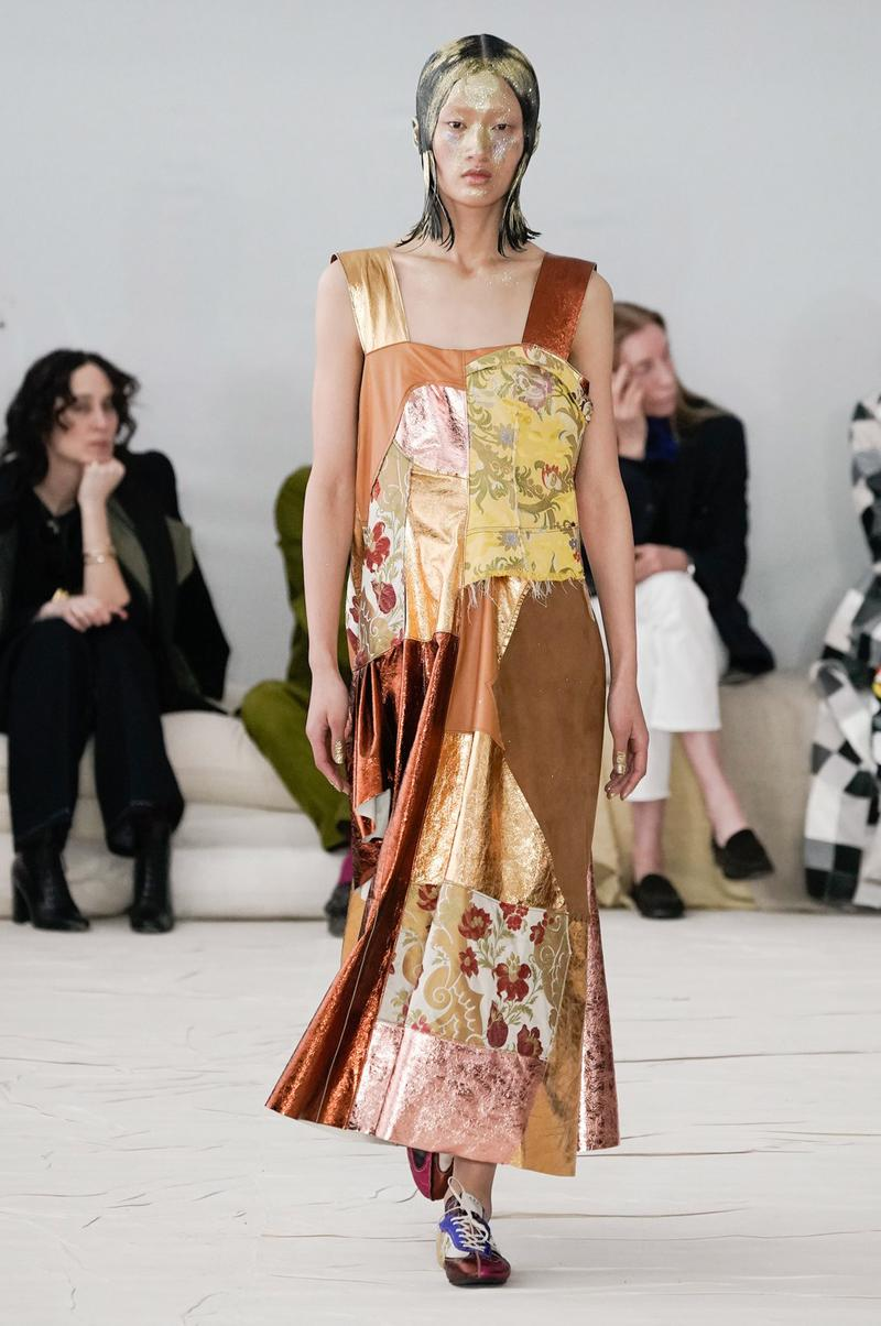 Marni Fall/Winter 2020 Collection Runway Show Dress Patchwork Tapestry