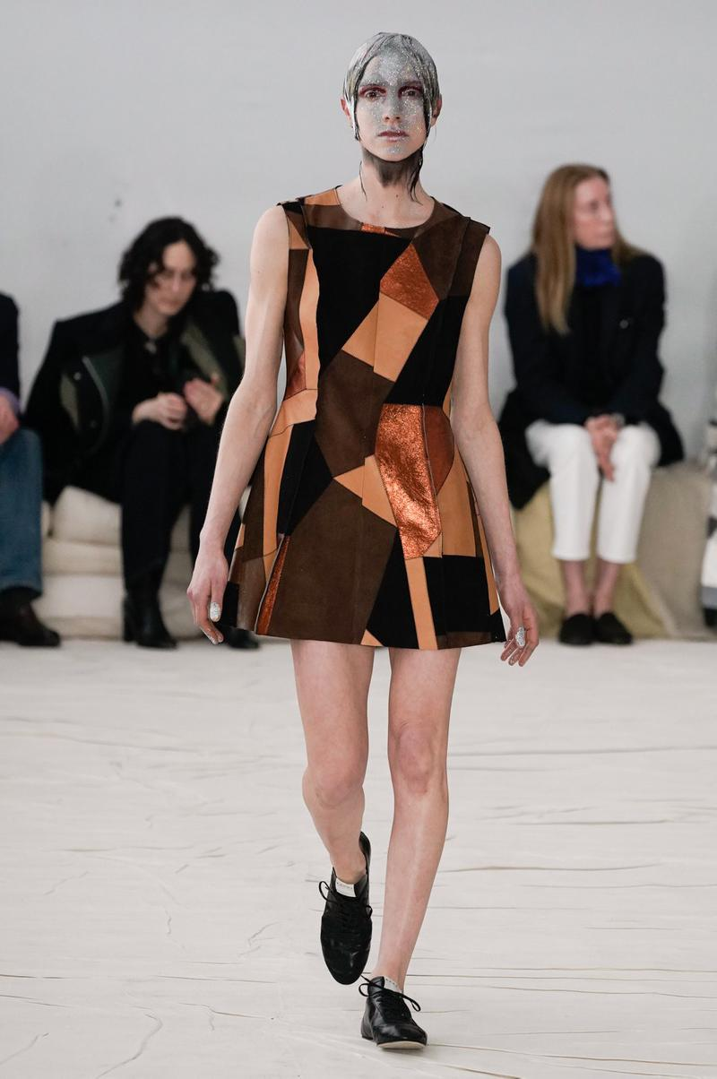 Marni Fall/Winter 2020 Collection Runway Show Patchwork Mini Dress