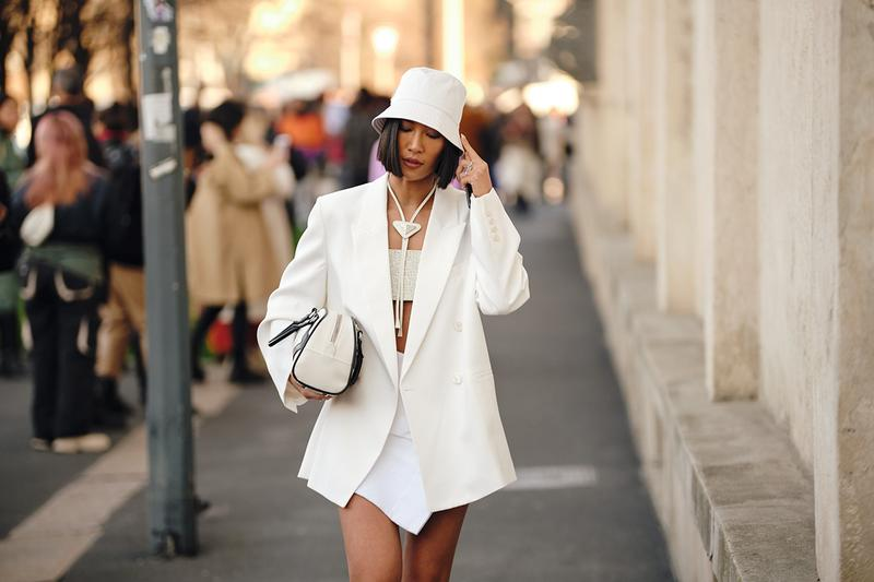 Street Style Trends Milan Fashion Week Fall Winter 2020 FW20 influencer Prada White Bucket Hat Tube Top Blazer Bag Skirt
