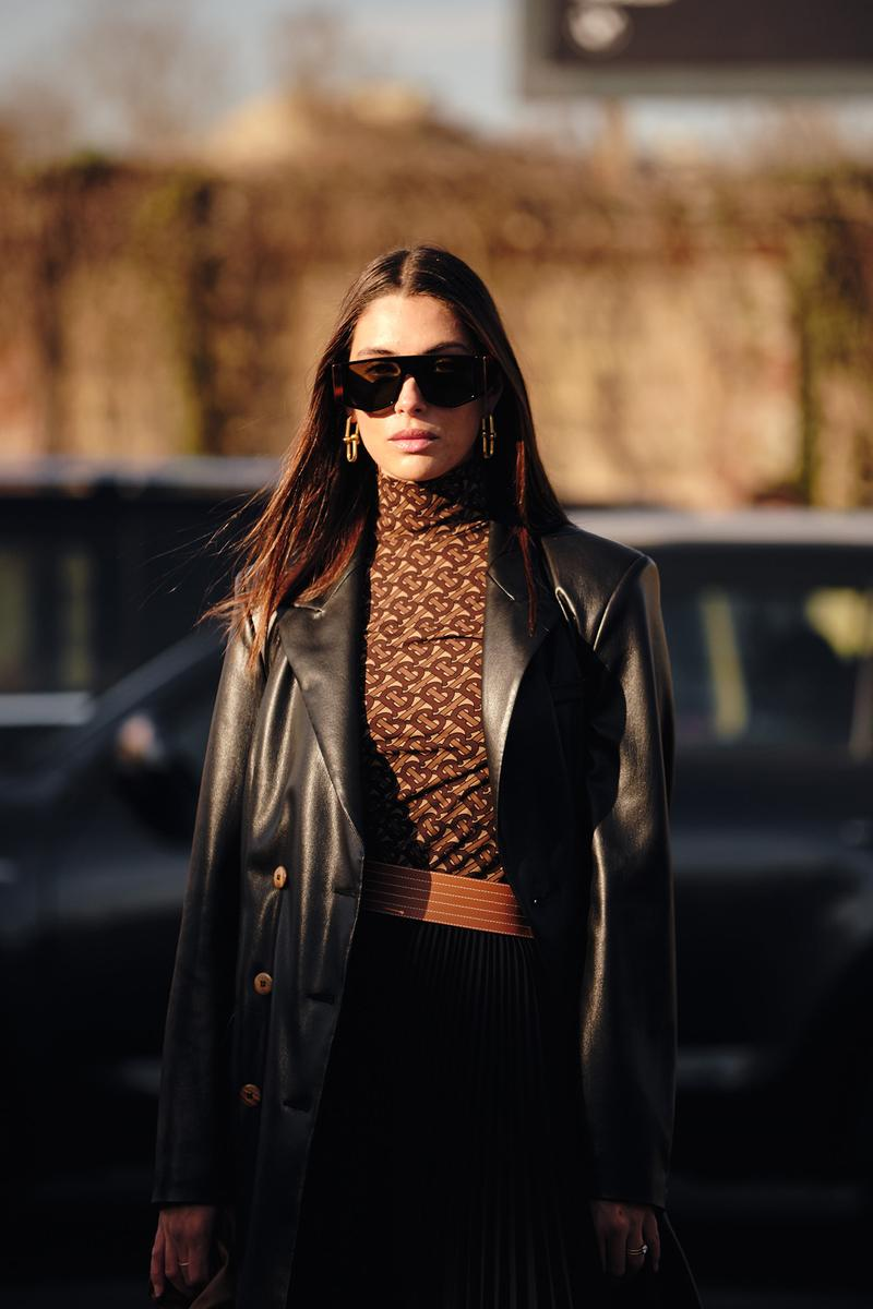 Burberry TB Monogram Top Brown Street Style Trends Milan Fashion Week Fall Winter 2020 FW20