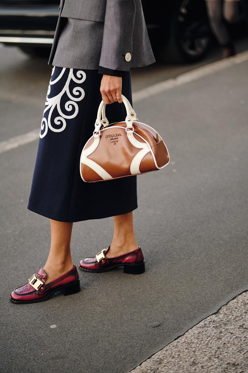 Prada Bowling Bag Brown Loafers Skirt Street Style Trends Milan Fashion Week Fall Winter 2020 FW20