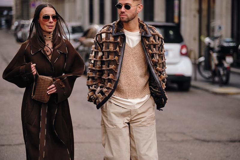Street Style Trends Milan Fashion Week Fall Winter 2020 FW20 Influencer Couple Brown Beige Tan