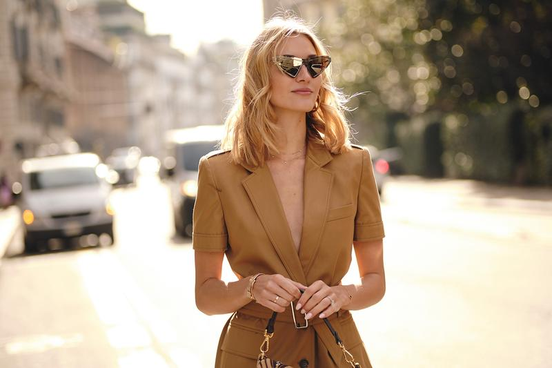Street Style Trends Milan Fashion Week Fall Winter 2020 FW20 Influencer Sunglasses Blazer Beige Tan