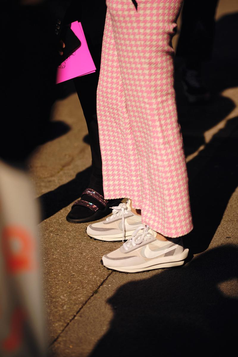 Sacai Nike Daybreak LDwaffle sneaker white grey pink pants Street Style Trends Milan Fashion Week Fall Winter 2020 FW20 Influencer