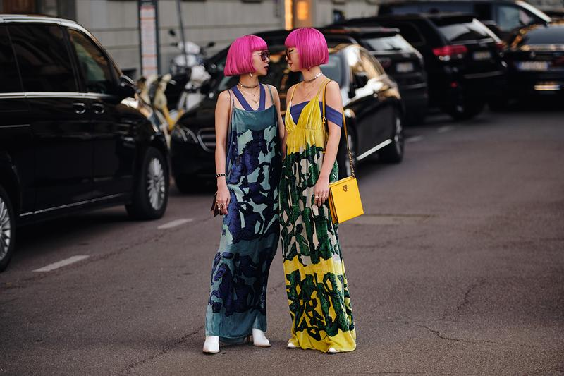 Ami Aya Japanese Twins Street Style Trends Milan Fashion Week Fall Winter 2020 FW20 influencers pink hair bob