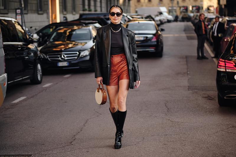 Street Style Trends Milan Fashion Week Fall Winter 2020 FW20 influencer leather shorts jacket