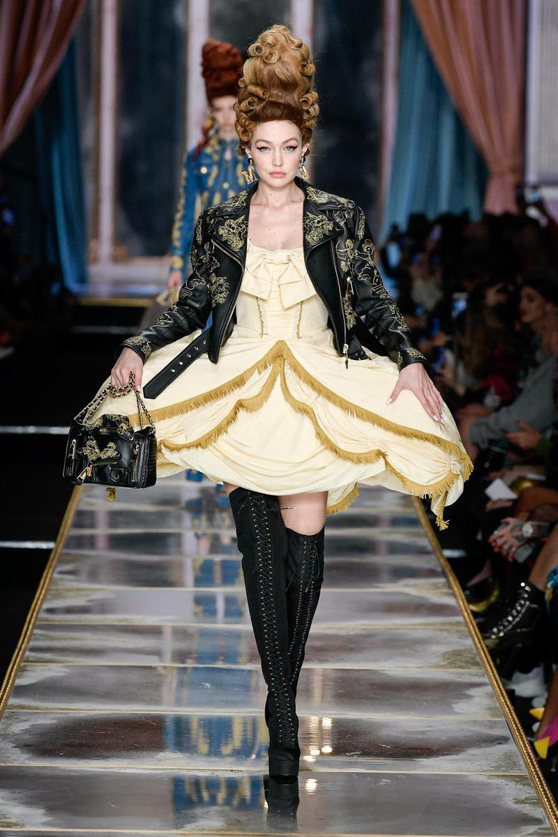 Moschino Fall/Winter 2020 Collection Runway Show Leather Jacket Yellow Dress