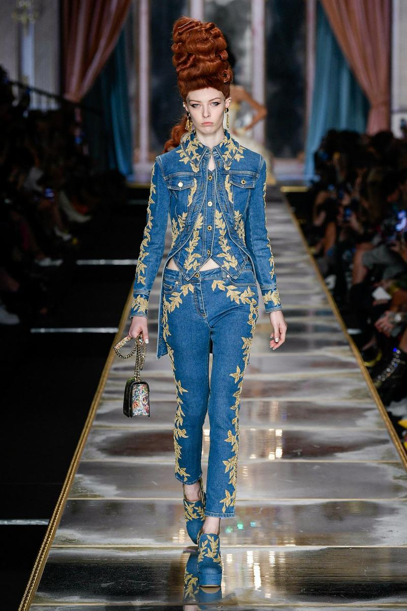 Moschino Fall/Winter 2020 Collection Runway Show Denim Dress Denim Jacket Jeans