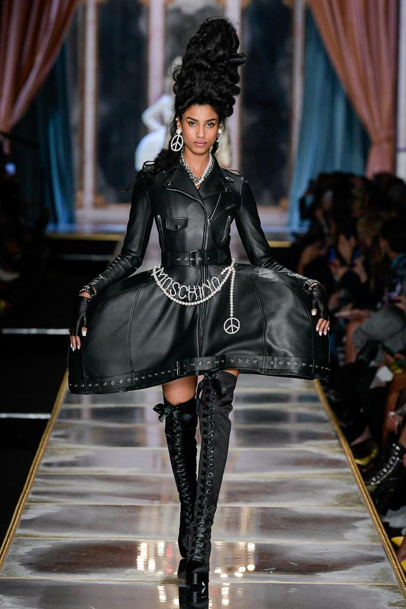 Moschino Fall/Winter 2020 Collection Runway Show Leather Dress