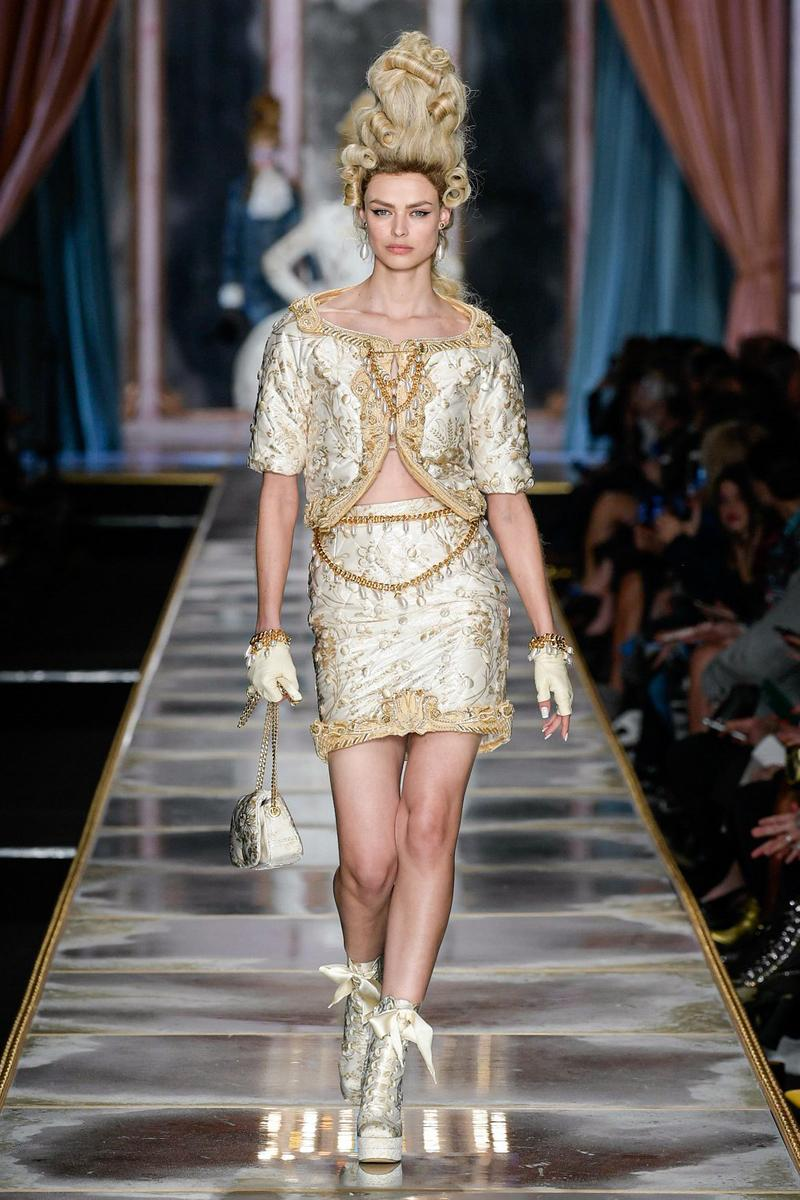 Moschino Fall/Winter 2020 Collection Runway Show Suit Silver Gold