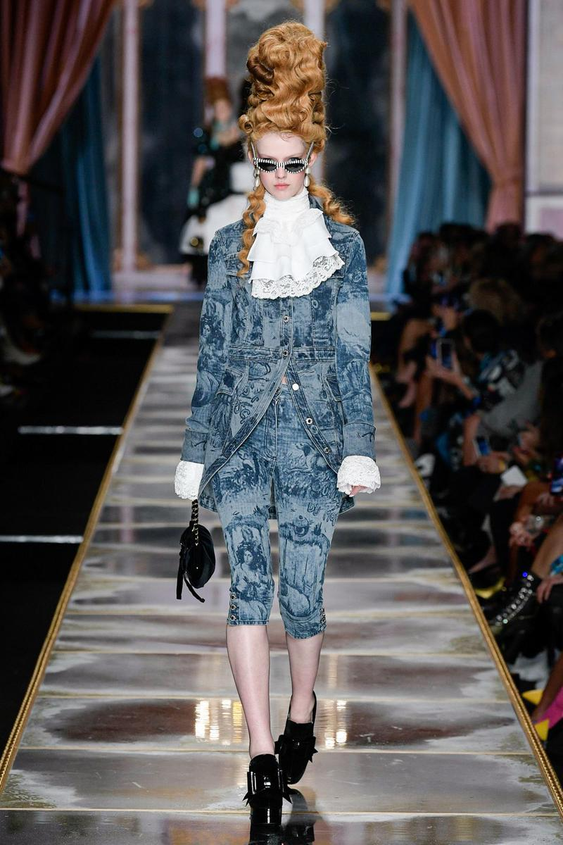 Moschino Fall/Winter 2020 Collection Runway Show Jacket Pants Denim Toile