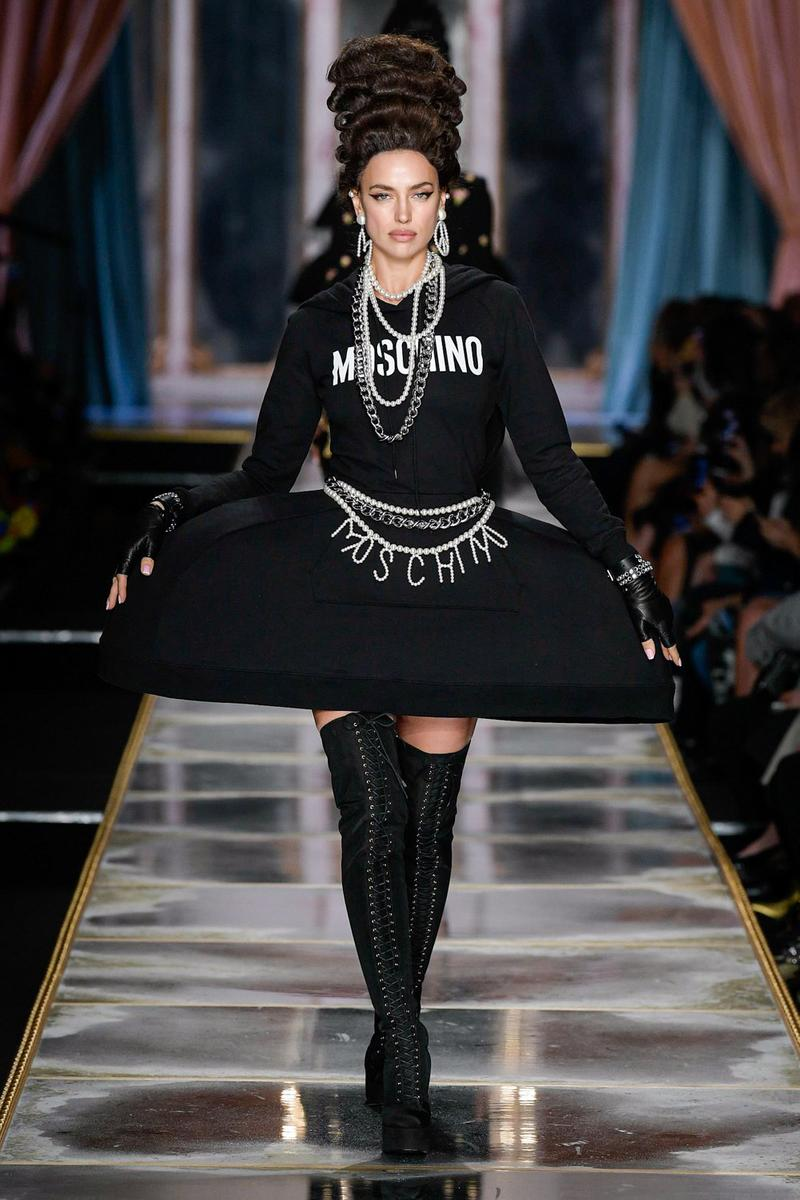 Moschino Fall/Winter 2020 Collection Runway Show Hoodie Dress Black