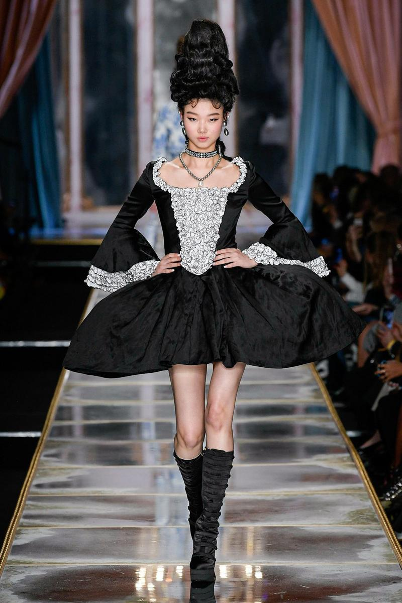 Moschino Fall/Winter 2020 Collection Runway Show Mini Dress Black White