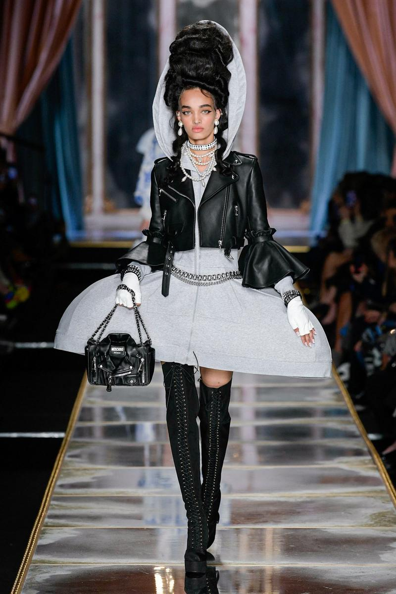 Moschino Fall/Winter 2020 Collection Runway Show Leather Jacket Black