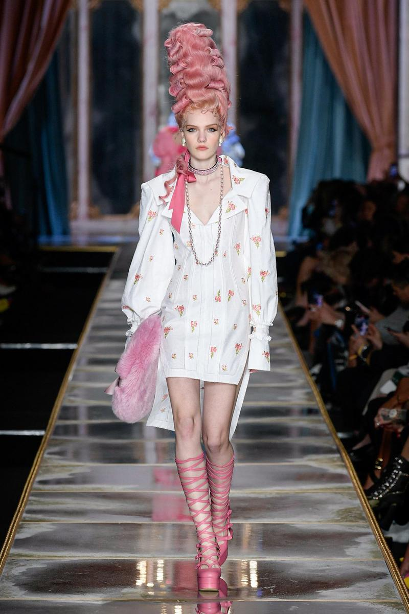 Moschino Fall/Winter 2020 Collection Runway Show Mini Dress Floral White