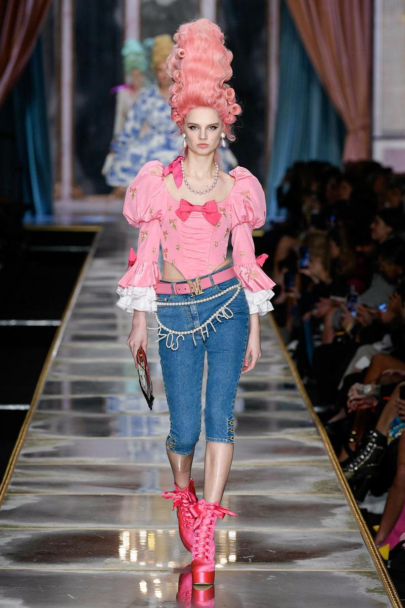 Moschino Fall/Winter 2020 Collection Runway Show Corset Pink Capris Denim