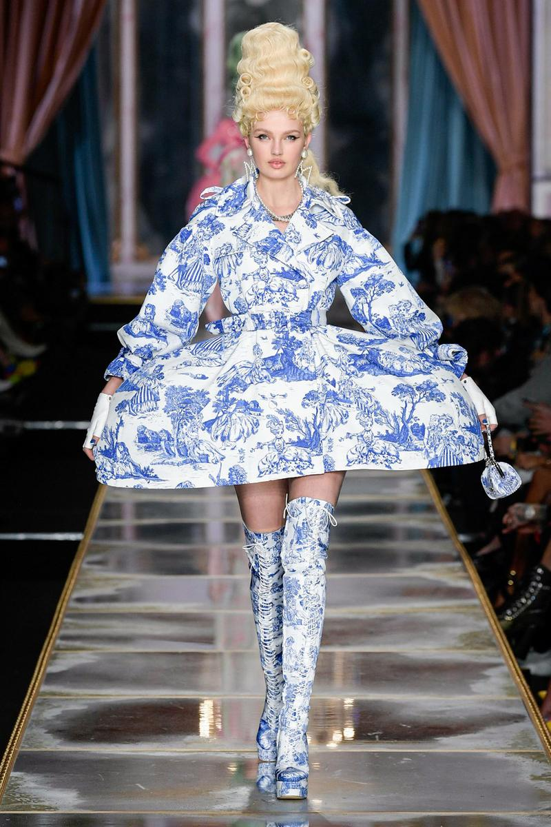 Moschino Fall/Winter 2020 Collection Runway Show Dress Boots Toile