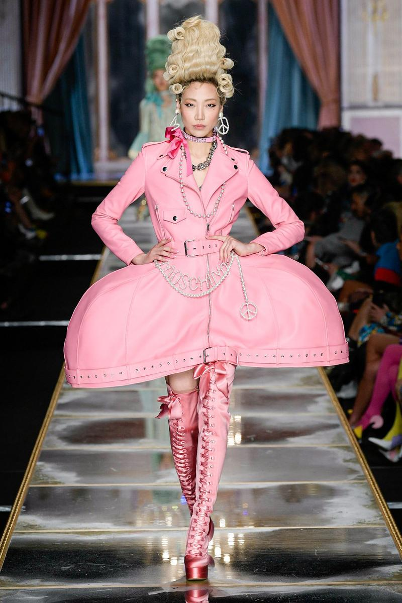 Moschino Fall/Winter 2020 Collection Runway Show Leather Dress Jacket Pink