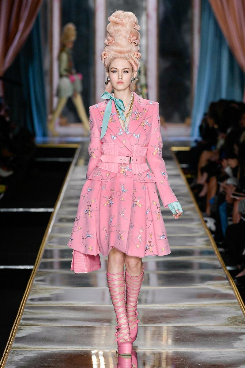 Moschino Fall/Winter 2020 Collection Runway Show Jacket Skirt Pink