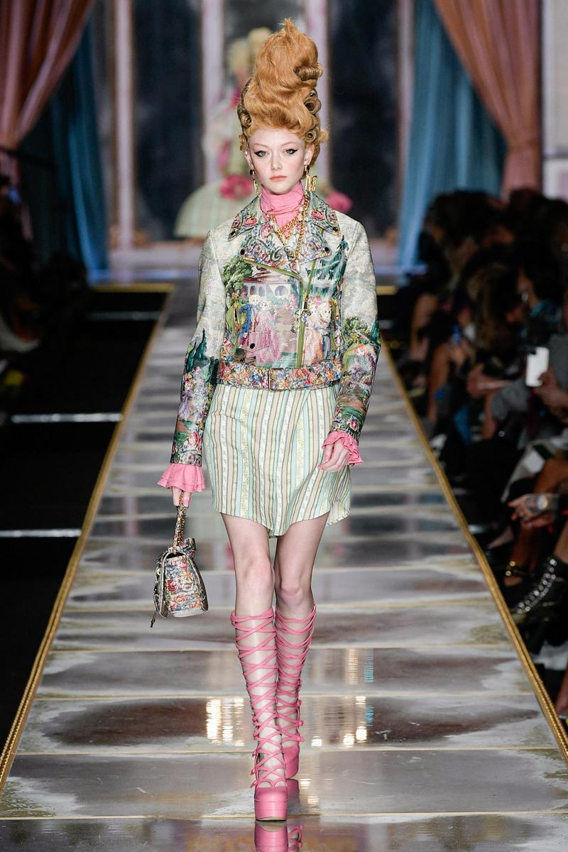 Moschino Fall/Winter 2020 Collection Runway Show Jacket Skirt Tapestry