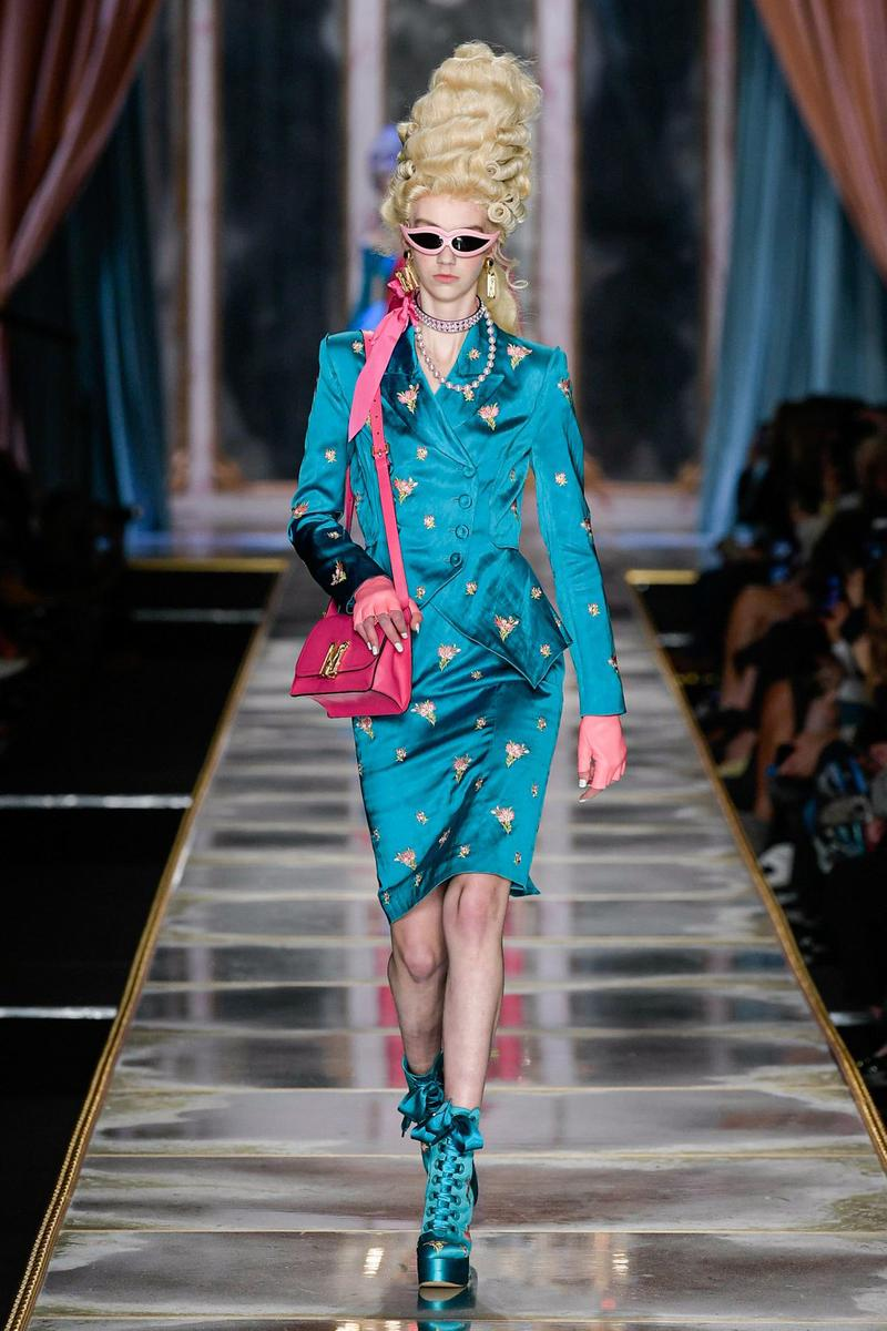Moschino Fall/Winter 2020 Collection Runway Show Dress Silk Blue