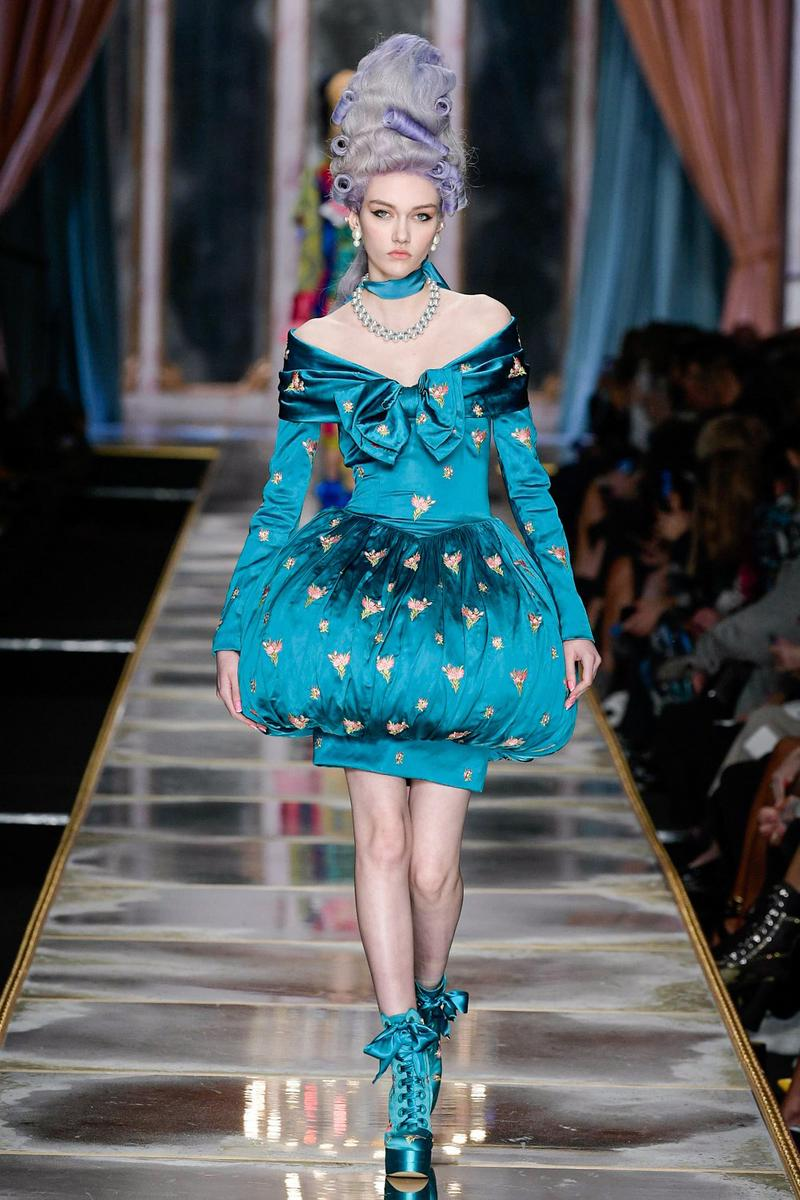 Moschino Fall/Winter 2020 Collection Runway Show Bubble Dress Blue