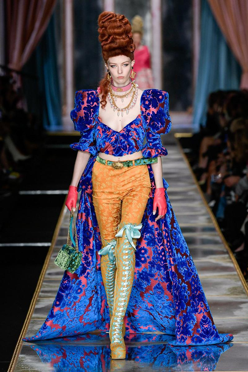 Moschino Fall/Winter 2020 Collection Runway Show Corset Tapestry Pants Orange
