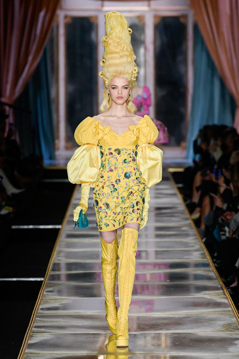 Moschino Fall/Winter 2020 Collection Runway Show Dress Yellow