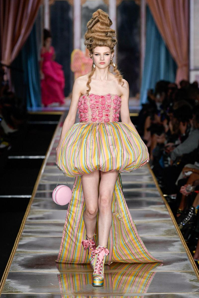 Moschino Fall/Winter 2020 Collection Runway Show Corset Dress Pink Yellow