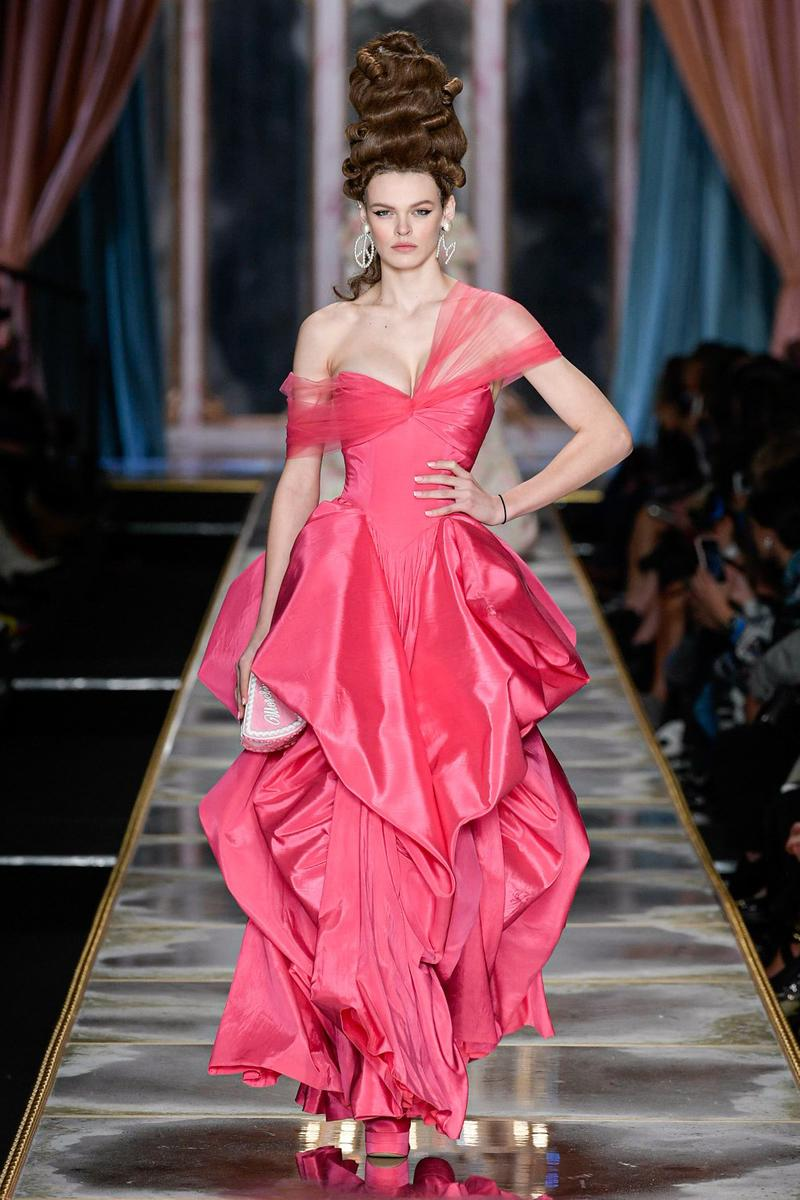 Moschino Fall/Winter 2020 Collection Runway Show Silk Gown Pink