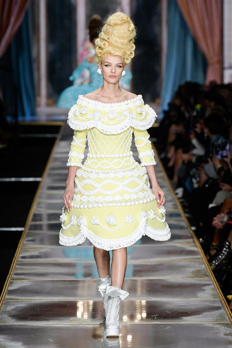 Moschino Fall/Winter 2020 Collection Runway Show Cake Dress Yellow