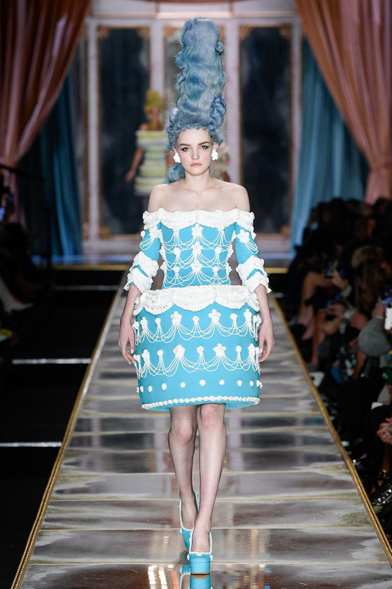 Moschino Fall/Winter 2020 Collection Runway Show Cake Dress Blue