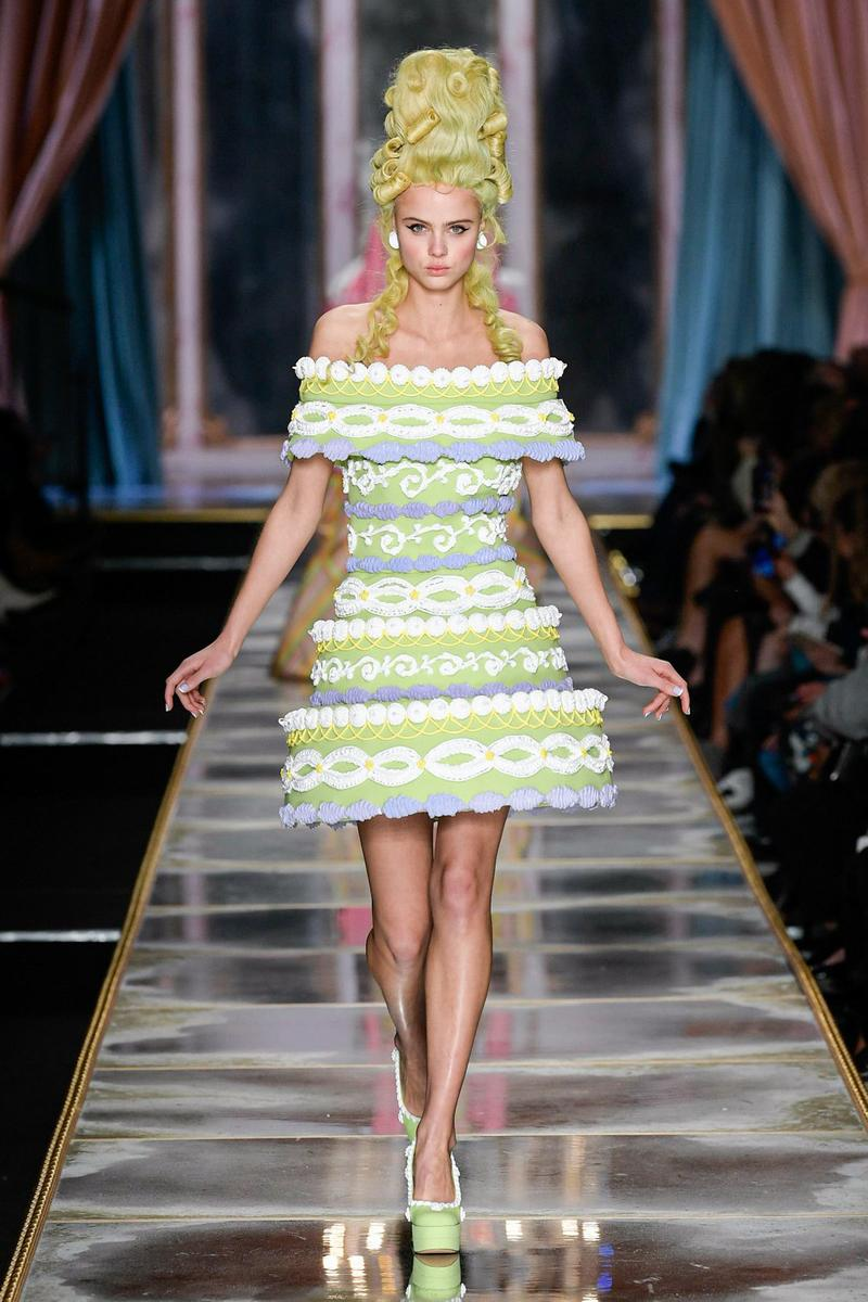 Moschino Fall/Winter 2020 Collection Runway Show Cake Dress Green