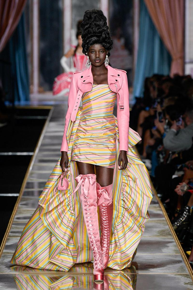 Moschino Fall/Winter 2020 Collection Runway Show Striped Mini Dress