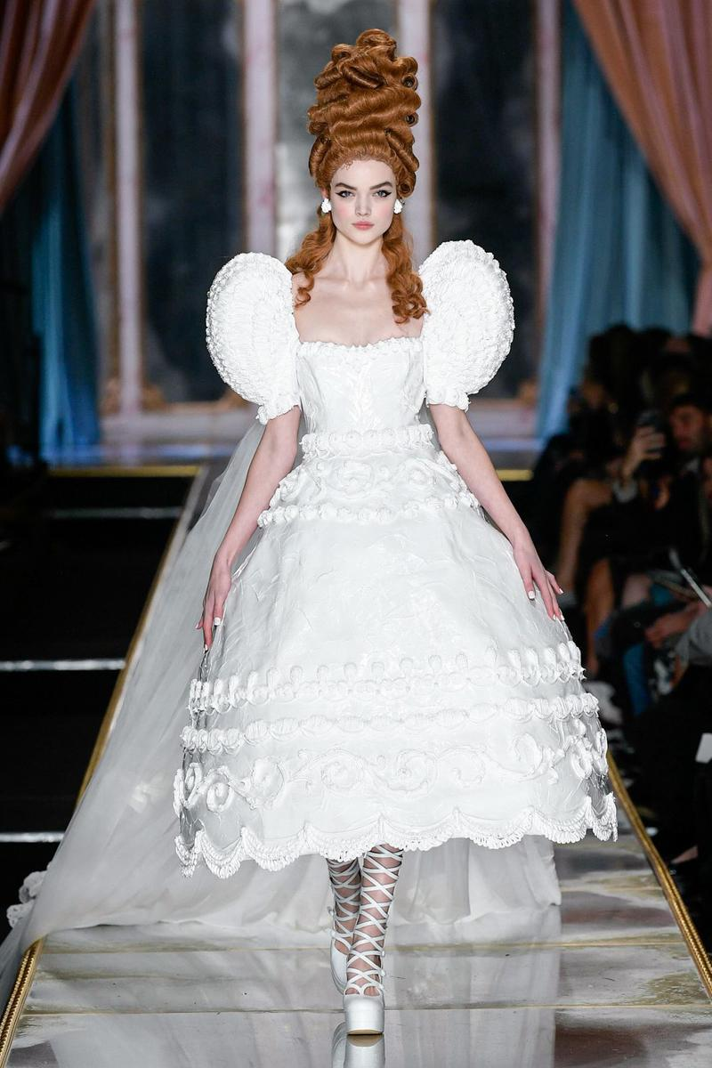 Moschino Fall/Winter 2020 Collection Runway Show Cake Dress White