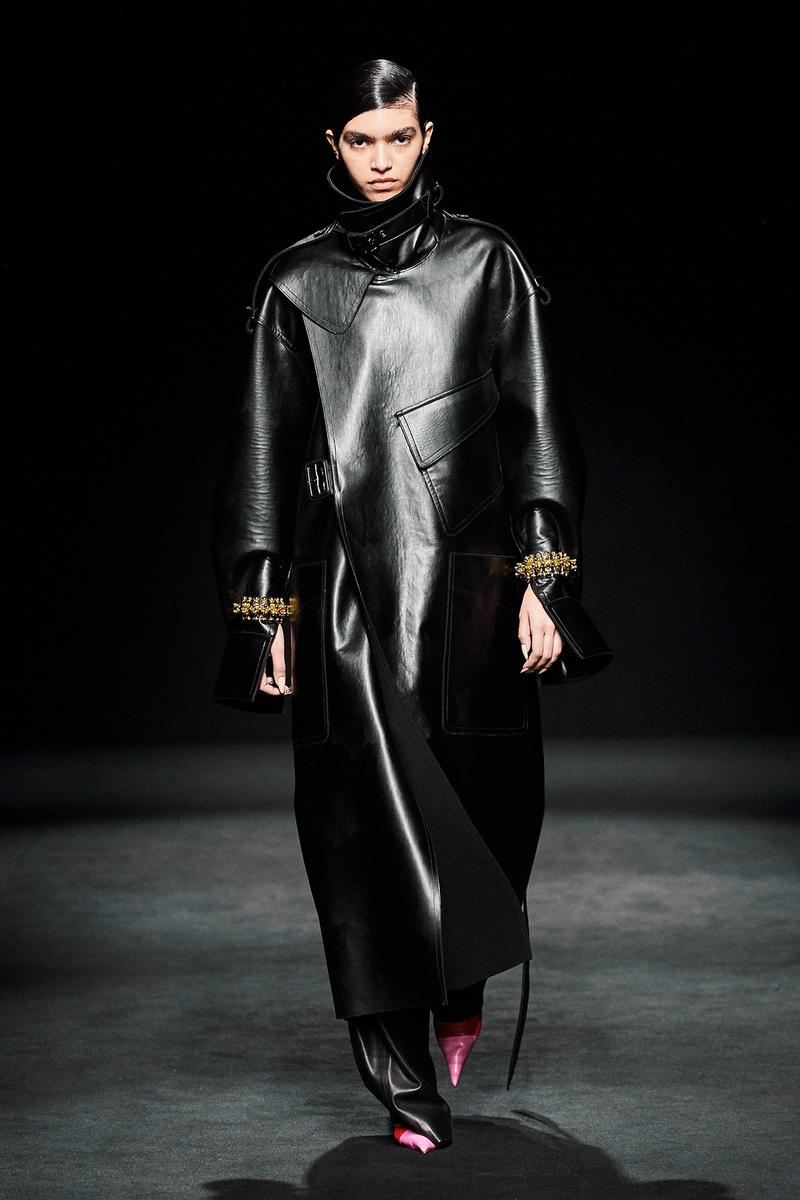 Mugler Fall/Winter Collection Runway Show Leather Coat Black