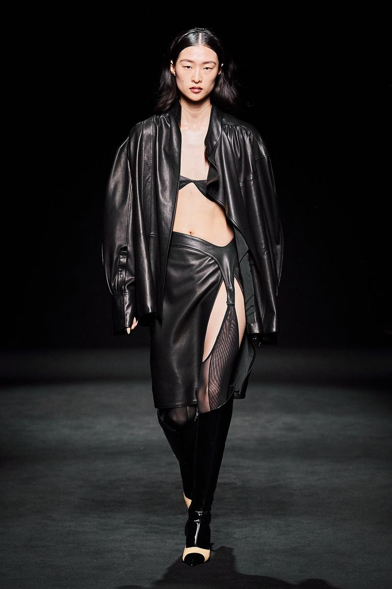 Mugler Fall/Winter Collection Runway Show Leather Jacket Skirt Black Bra