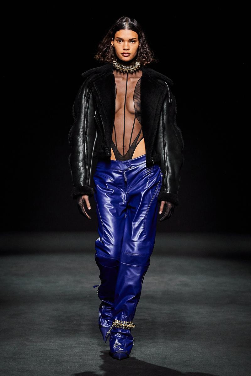 Mugler Fall/Winter Collection Runway Show Bodysuit Black Leather Pants Blue