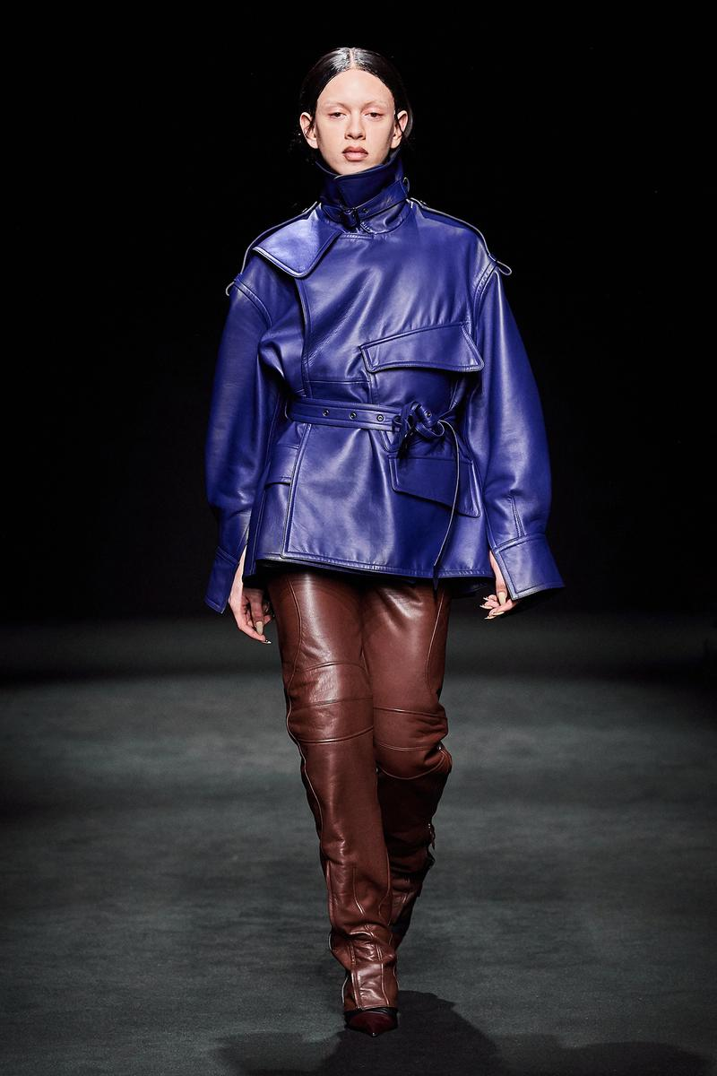 Mugler Fall/Winter Collection Runway Show Leather Jacket Blue