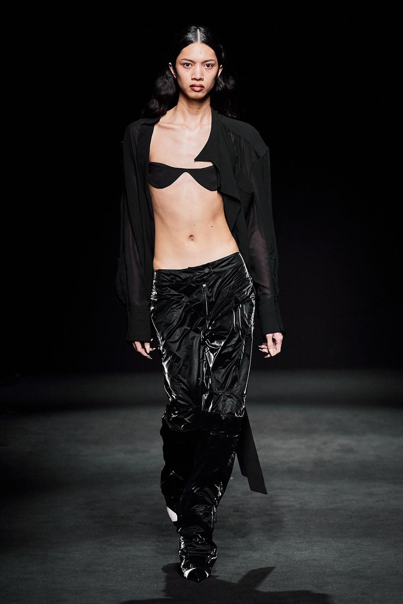 Mugler Fall/Winter Collection Runway Show Velvet Pants Black Bra