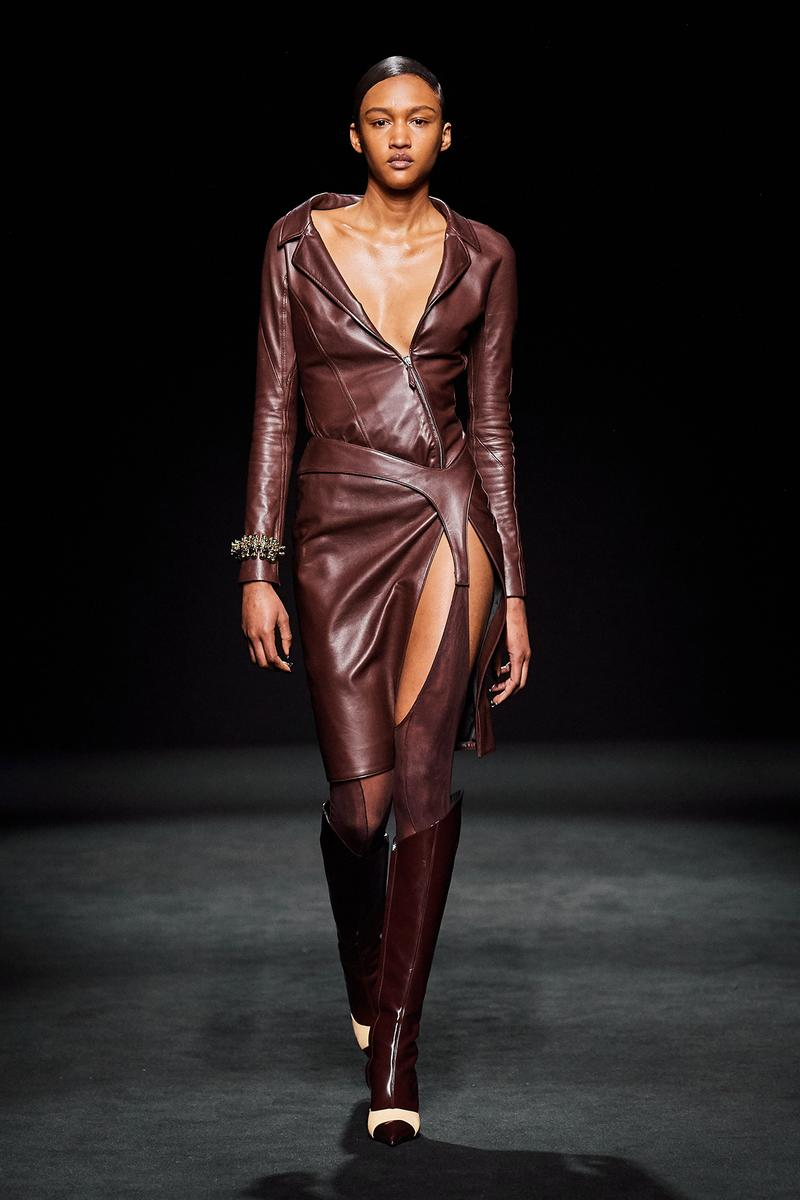 Mugler Fall/Winter Collection Runway Show Leather Dress Garter Brown