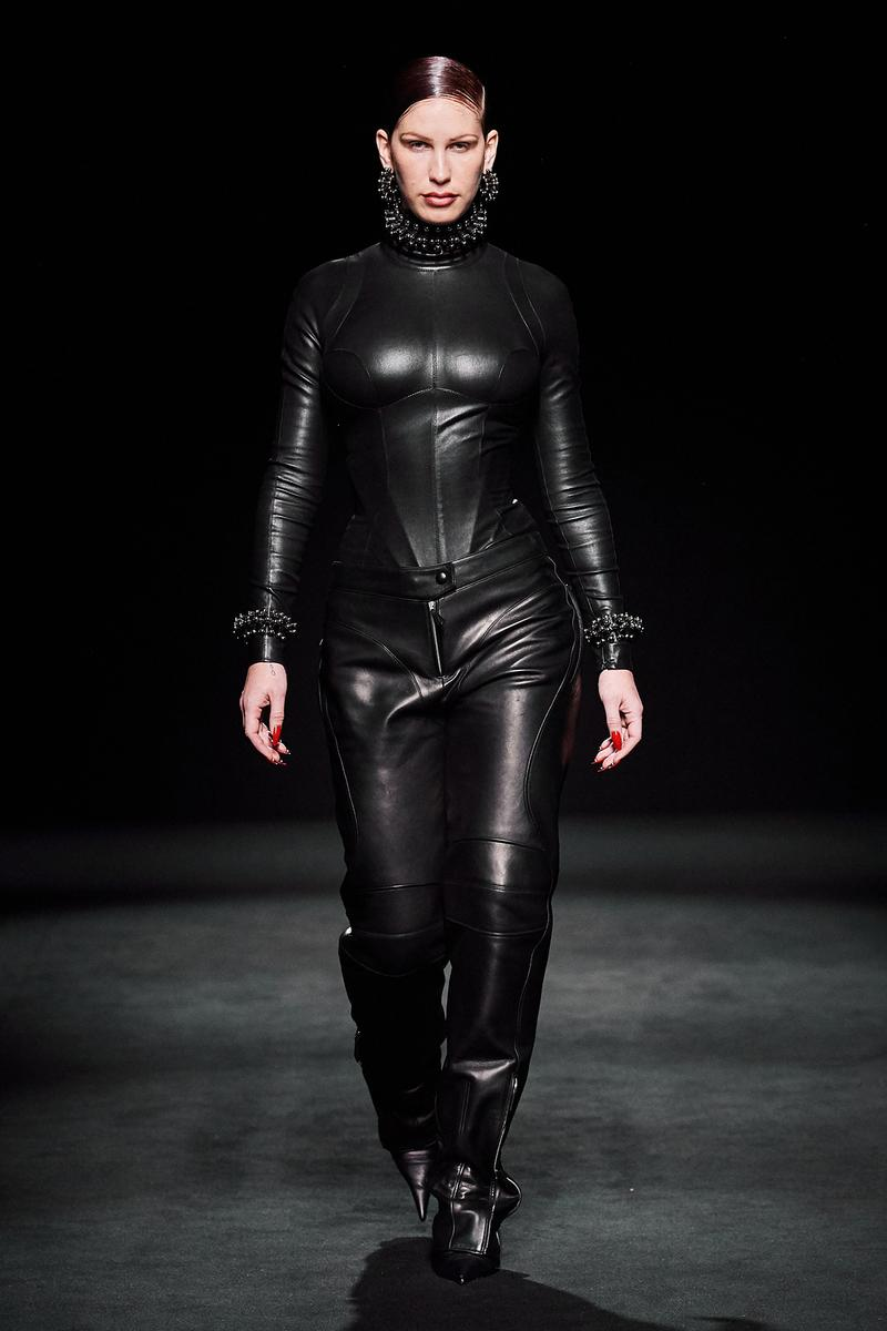Mugler Fall/Winter Collection Runway Show Leather Bodysuit Pants Black