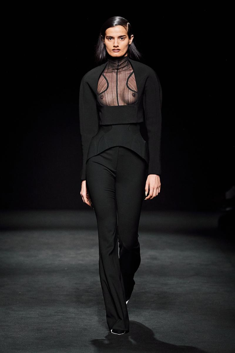 Mugler Fall/Winter Collection Runway Show Mesh Top Corset Black