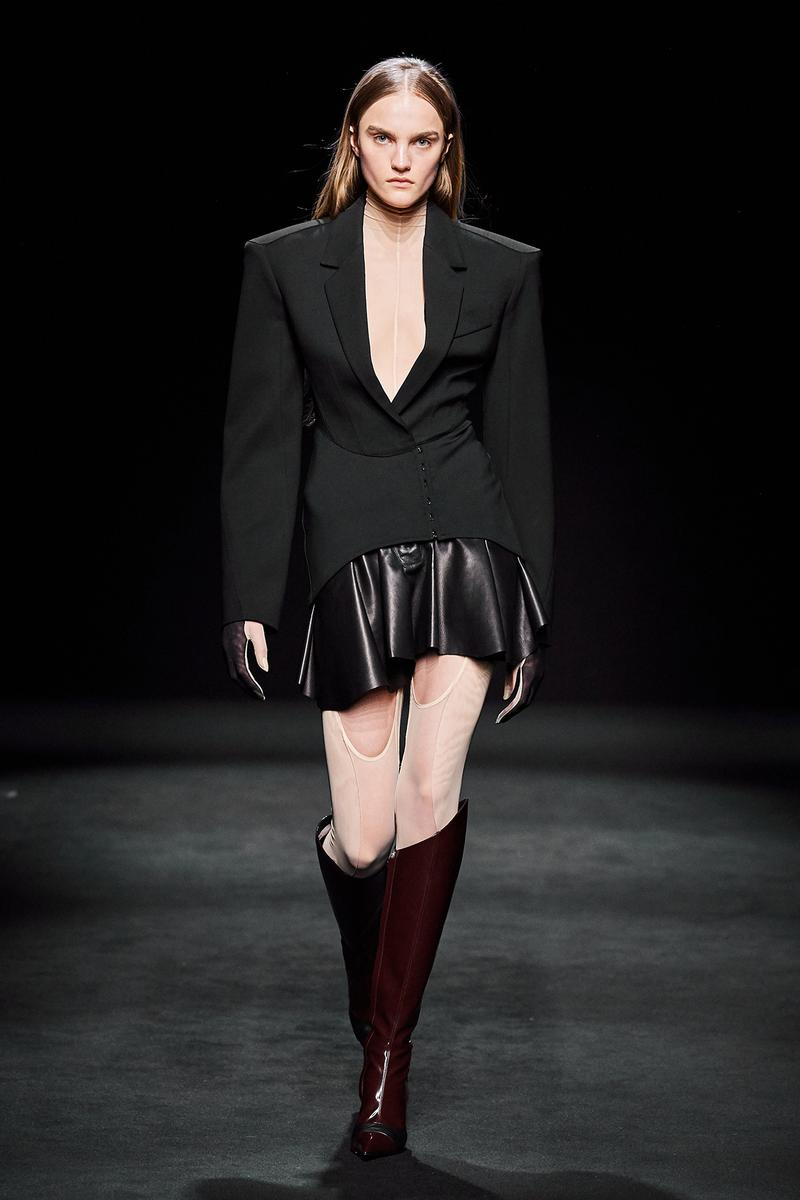 Mugler Fall/Winter Collection Runway Show Jacket Skirt Leather Black