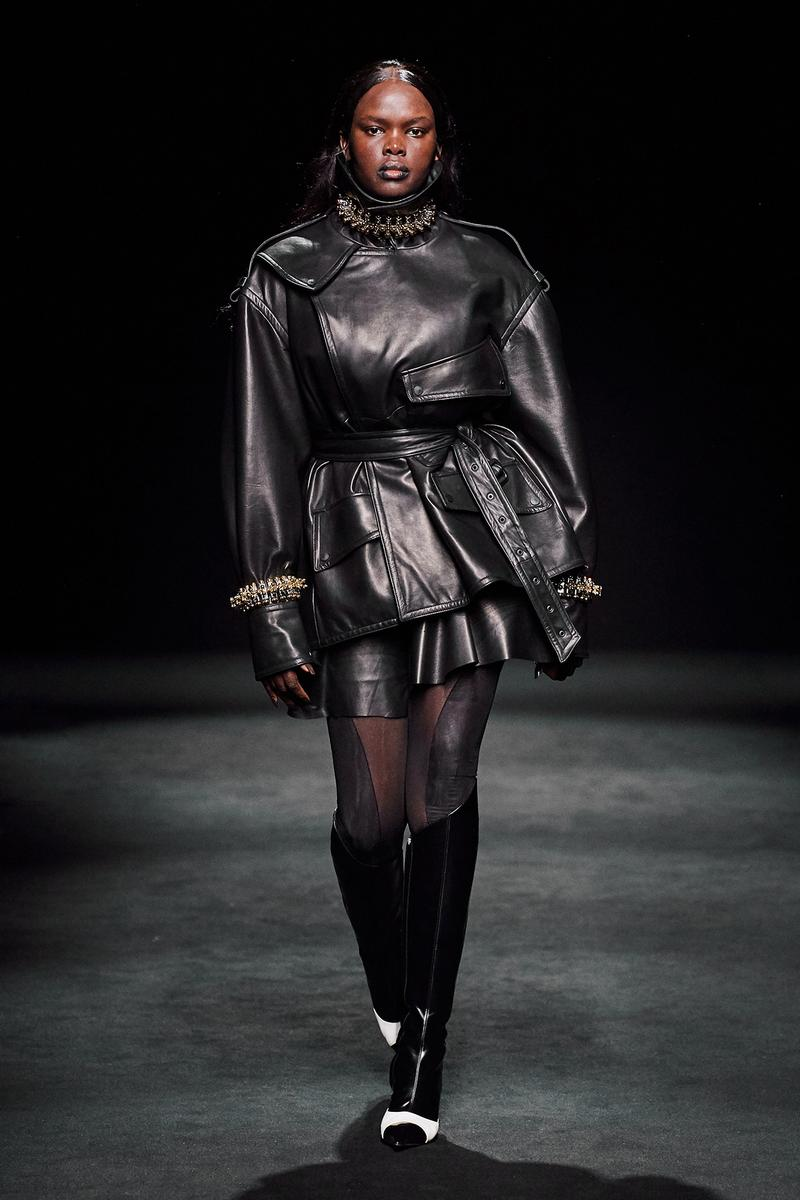 Mugler Fall/Winter Collection Runway Show Leather Jacket Skirt Black