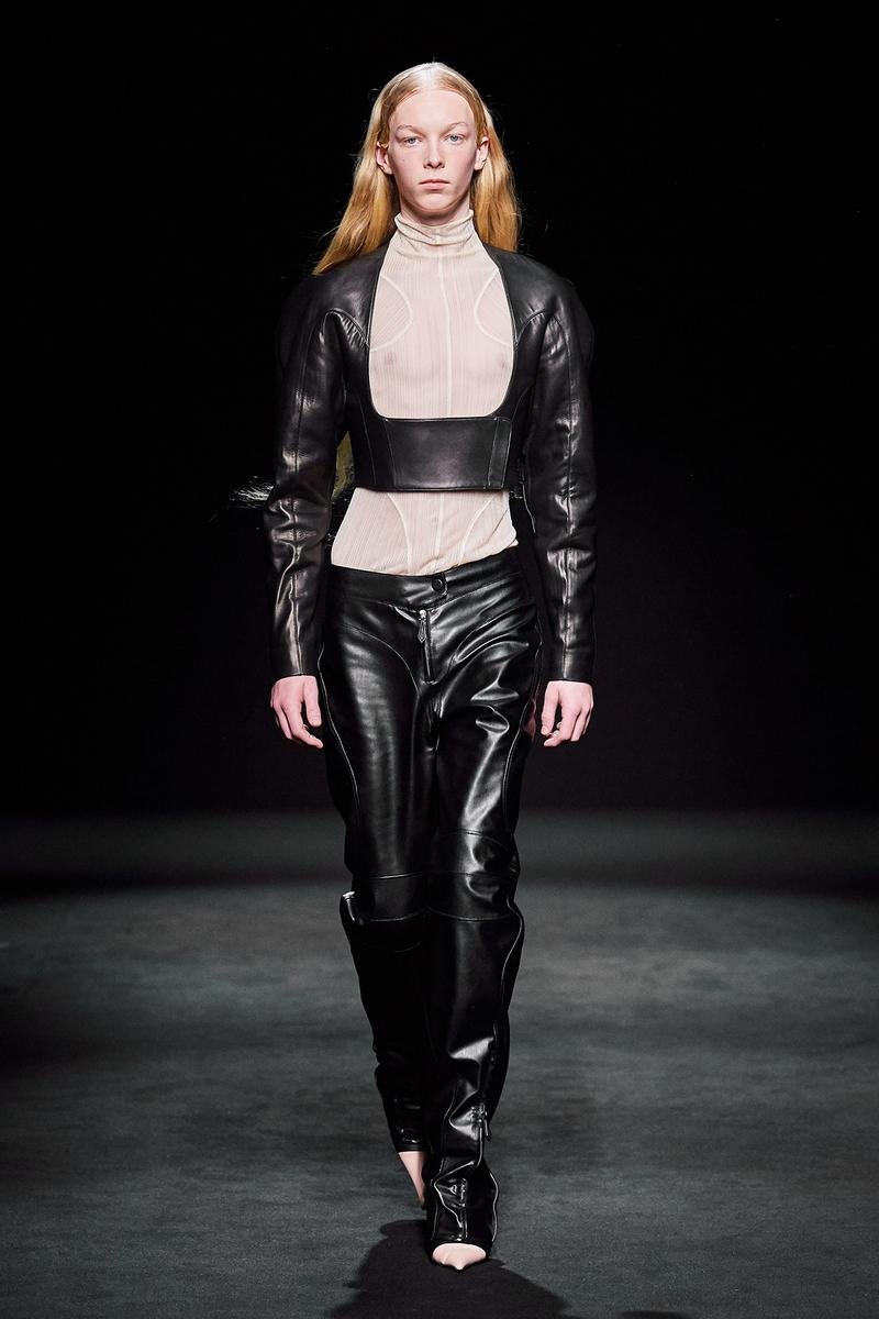 Mugler Fall/Winter Collection Runway Show Leather Corset Pants Black