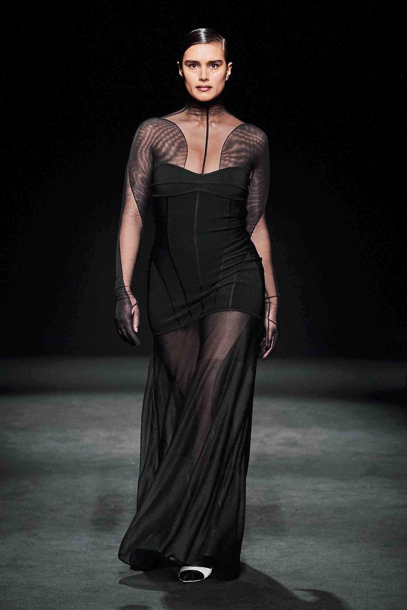 Mugler Fall/Winter Collection Runway Show Mesh Dress Black