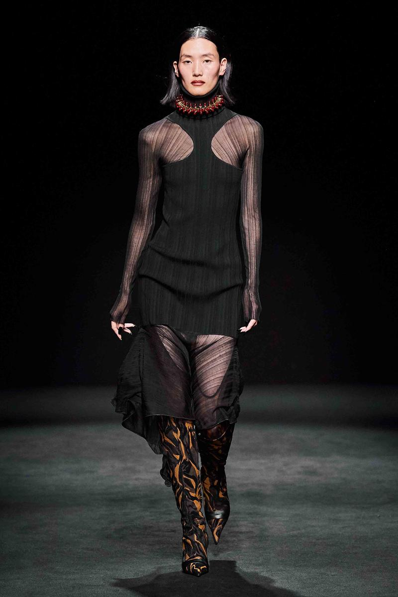 Mugler Fall/Winter Collection Runway Show Sheer Dress Black